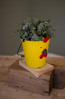 (2 Pack) Painted Metal Chick Planter