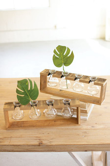 (2 Pack) Four Glass Bud Vases With A Recycled Wooden Stand