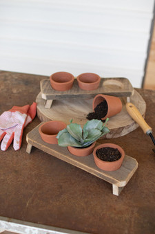 (2 Pack) Three Terracotta Flower Pots On A Recycled Wooden Base