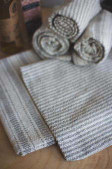 Six Set Grey Cotton Napkins - 3 Each Design