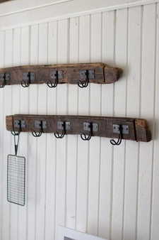 (2 Pack) Recycled Wood Coat Rack With Five Wire Hooks