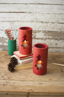 (6 Pack) Red #1 Decorative Clay Christmas Tree Luminary