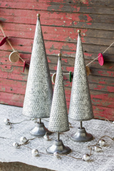 (3 Set) Decorative Zinc Topiaries With Beaded Brass Detail