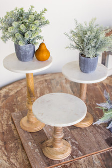 (3 Set) Wooden Display Stands With Marble Tops