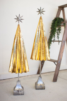 (2 Set) Decorative Folded Gold Metal Trees With Silver Star
