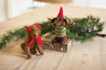 (2 Set) Decorative Felt Christmas Dogs