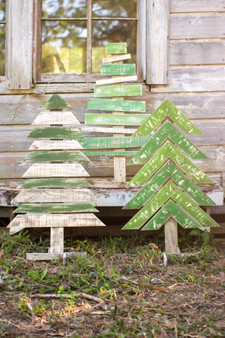 (3 Set) Decorative Pallet Christmas Tree Wooden Craft With Stands Recycled