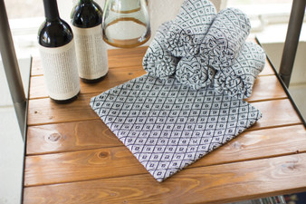 (6 Set) Black/White Diamonds Cotton Napkins