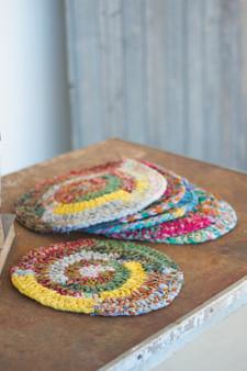 Six Set Round Knitted Kantha Placemats