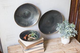 (3 Set) Antique Black Copper Platters