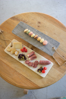 White Marble Long Cutting Board With Rope Handle