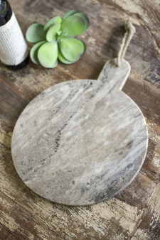 Round Grey Marble Cutting Board With Jute Hanger