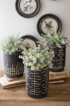 (3 Set) Black And White Clay Planters - One Each Design