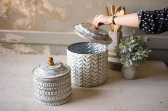 (2 Set) Pressed Tin Canisters