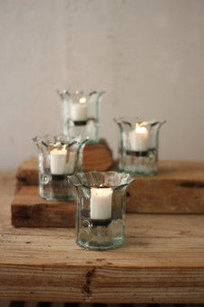 (4 Pack) Recycled Glass Mini Ribbed Votive Cylinders