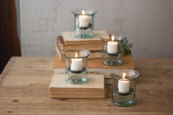(4 Pack) Recycled Glass Mini Votive Cylinder