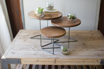 (3 Set) Round Wire Display Risers With Wood Tops