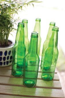 (6 Pack) Decorative Recycled Green Glass Bottle