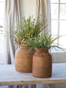 2 Set Mango Wood Urns