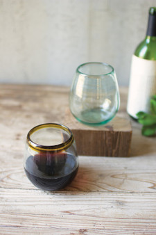 (6 Pack) Stemless Wine Glass With Amber Rim