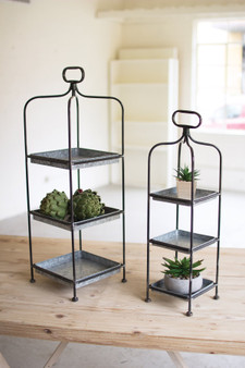 2 Set Tall Metal Display Stands With Galvanized Trays