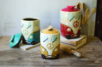 (3 Set) Ceramic Van Canisters With Surfboard Handles