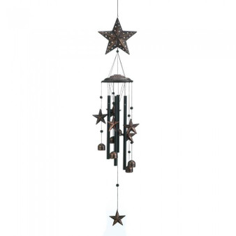 Bronze Wind Chimes With Stars And Bells - 34 Inches (10018632)
