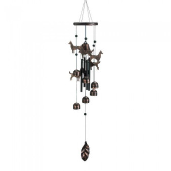26-Inch Bronze Wind Chimes With Bells And Dogs (10018631)