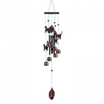 26-Inch Bronze Wind Chimes With Bells And Cats (10018630)