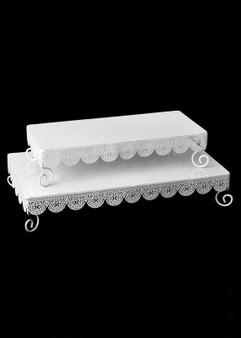 "Set Of 2 White Metal Rectangle Eyelet Cake Stands - 14.5-17.5"" Long"
