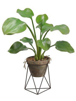 "26"" Water Hyacinth Leaf Plant In Terra Cotta Pot With Stand Green 2 Pieces LPW006-GR"
