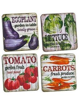"4""W X 4""L Vegetable Coasters (4Ea/Set)Mixed 4 Pieces AG3630-MX"