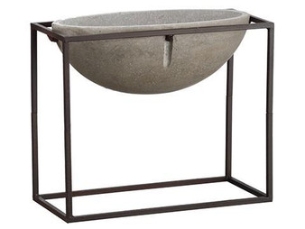 "13.75"" Cement Planter Gray Rust ACE502-GY/RU"
