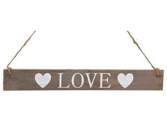 "15"" Love Hanging Sign White Brown 24 Pieces AAN058-WH/BR"
