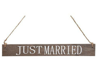 "15"" Just Married Hanging Sign White Brown 24 Pieces AAN057-WH/BR"