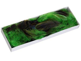 """1""""H X 3.5""""W X 10""""L Cock TailFeather In BoxTwo Tone Green 12 Pieces AA5190-GR/TT"""