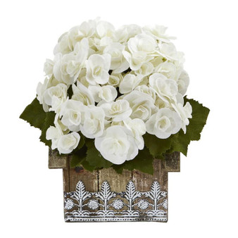 """10"""" Begonia Artificial Plant In Hanging Floral Design House Planter (8825-WH)"""
