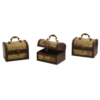 Decorative Chest With Map (Set Of 3) (0545-S3)