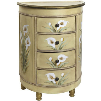 Antique Accessory Table With Calla Lily Floral Art (7013)