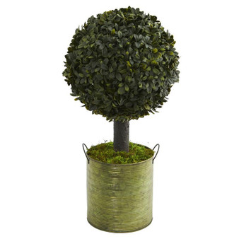 1.5' Boxwood Ball Topiary Artificial Tree In Green Tin (Indoor/Outdoor) (5880)