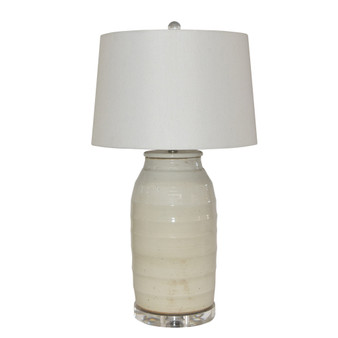 Busan White Flat Lidded Jar S Lamp (L1442S)