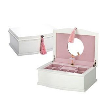 Ballerina Musical Chest White/Pink Jewelry Box