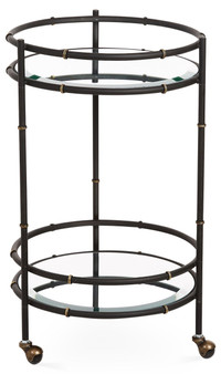 Black And Gold Round Bamboo Beverage Cart (HC727)