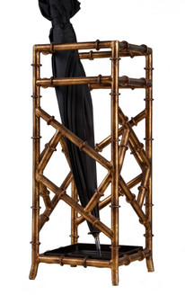 Antique Gold Iron Bamboo Umbrella Stand (HC597)