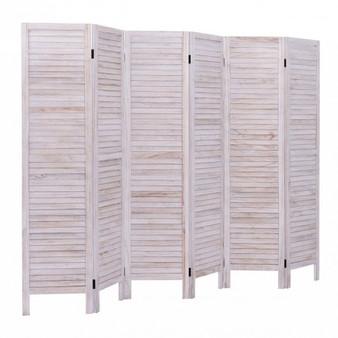 6 Panels Classic Venetian Wooden Slat Room Screen (HW66280WH)