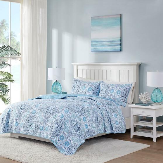 510 Design Breeze 100% Polyester Microfiber Printed Quilt Set - King/Cal King - Blue 5DS13-0226
