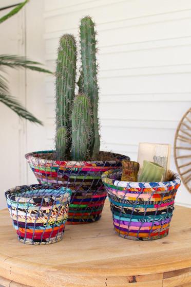 Set Of 3 Multi Color Coiled Kantha Bowls (NVEE1024)