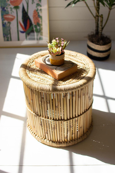 Round Bamboo Stool With Natural Rope Top (NZR1014)