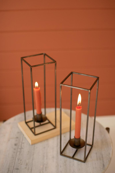 Tall Square Antique Brass Taper Candle Holder (NZR1022)