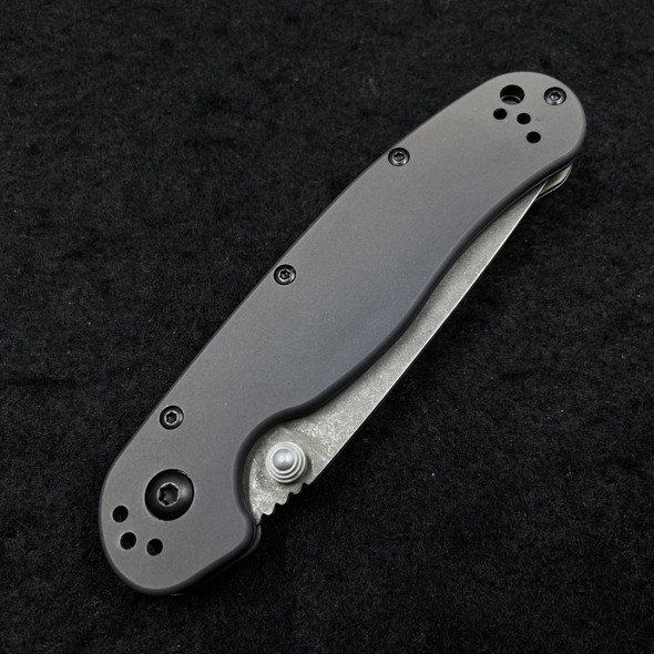 Ontario Knife Co. Rat 2 D2 Folder w/ 6Al4V Titanium Scales BLACKOUT Edition